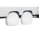 "RV Trailer Wheel Storage Covers 19-22"" Pack of 2 - White 