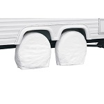 "RV Trailer Wheel Storage Covers 40"" - 42"" Pack of 2 - White