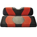 Madjax Wave Black/Red Two-Tone Seat Covers | EZGO Golf Cart 1994-Up