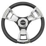 "Gussi Italia Model 13 Black/Chrome 14"" Steering Wheel 
