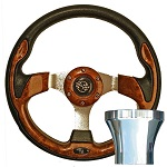 EZGO TXT 1994.5-Up Golf Cart Woodgrain Rally Steering Wheel Chrome Kit