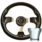 EZGO TXT 1994.5-Up Golf Carbon Fiber Rally Steering Wheel Chrome Adaptor Kit