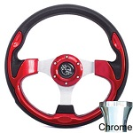 EZGO TXT 1994.5-Up Golf Cart Red Rally Steering Wheel Chrome Adaptor Kit