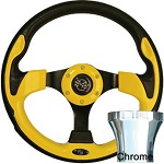 EZGO TXT 1994.5-Up Golf CartYellow Rally Steering Wheel Chrome Adaptor Kit