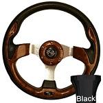 Yamaha G2-G29 Golf Cart Woodgrain Rally Steering Wheel Black Adaptor Kit