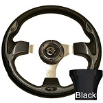 EZGO TXT 1994.5-Up Golf Cart Carbon Fiber Rally Steering Wheel Black Adaptor Kit