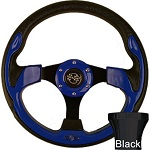 EZGO TXT 1994.5-Up Golf Cart Blue Rally Steering Wheel Black Adaptor Kit
