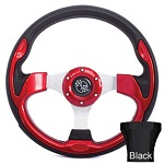 EZGO TXT 1994.5-Up Golf Cart Red Rally Steering Wheel Black Adaptor Kit