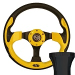 EZGO TXT 1994.5-Up Golf Cart Yellow Race Steering Wheel Black Adapter Kit