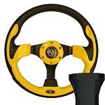 EZGO TXT 1994.5-Up Golf Cart Yellow Race Steering Wheel Black Adapter Kit