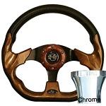 EZGO TXT 1994.5-Up Golf Cart Woodgrain Racer Steering Wheel Chrome Kit