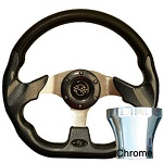 EZGO TXT 1994.5-Up Golf Cart Carbon Fiber Racer Steering Wheel Chrome Kit