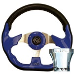 EZGO TXT 1994.5-Up Golf Cart Blue Racer Steering Wheel Chrome Adaptor Kit