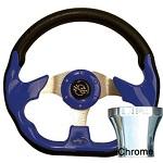 EZGO TXT 1994.5-Up Golf Cart Blue Racer Steering Wheel Chrome Adaptor Kit