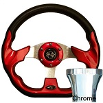 EZGO TXT 1994.5-Up Golf Cart Red Racer Steering Wheel Chrome Adaptor Kit