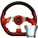 EZGO TXT 1994.5-Up Golf Cart Red Racer Steering Wheel Chrome Adaptor Kit
