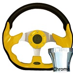 EZGO TXT 1994.5-Up Golf Cart Yellow Racer Steering Wheel Chrome Adaptor Kit