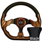 EZGO TXT 1994.5-Up Golf Cart Woodgrain Racer Steering Wheel Black Adaptor Kit