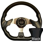 EZGO TXT 1994.5-Up Golf Cart Carbon Fiber Racer Steering Wheel Black Adaptor Kit