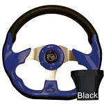 EZGO TXT 1994.5-Up Golf Cart Blue Racer Steering Wheel Black Adaptor Kit