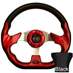 EZGO TXT 1994.5-Up Golf Cart Red Racer Steering Wheel Black Adaptor Kit