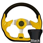 EZGO TXT 1994.5-Up Golf Cart Yellow Racer Steering Wheel Black Adaptor Kit