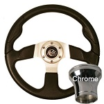 EZGO TXT 1994.5-Up Golf Cart Black Rally Steering Wheel Chrome Adaptor Kit
