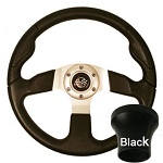 EZGO TXT 1994.5-Up Golf CartBlack Rally Steering Wheel Black Adaptor Kit