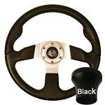 EZGO TXT 1994.5-Up Golf CartBlack Rally Steering Wheel Black Adaptor Kit