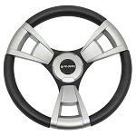 "Gussi Italia Model 13 Black/Brushed 14"" Steering Wheel | Yamaha Golf Cart"