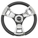 "Gussi Italia Model 13 Black/Chrome 14"" Steering Wheel | Club Car DS Golf Cart"