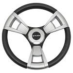 "Gussi Italia Model 13 Black/Brushed 14"" Steering Wheel | Club Car DS Golf Cart"
